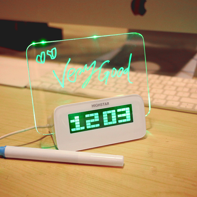 LED Light fluorescent message board table electron digital alarm clock