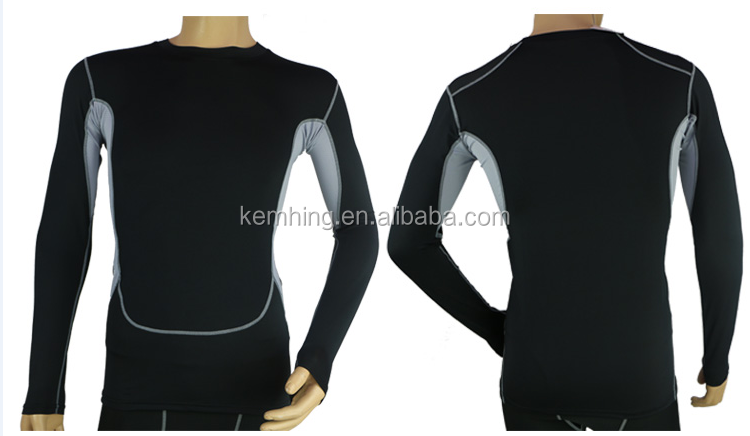 Custom Wholesale Long Sleeve Sports wear fast dry Fit Mens Compression Wear wholesale gym wear
