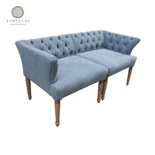 Oak Wood Blue Antique Fabric Sofa Turkey