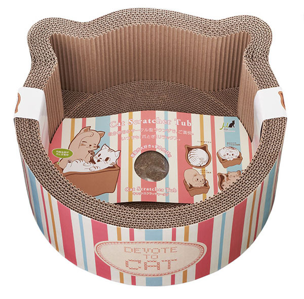 New Product Adorable Cat Shaped Corrugated Cat Scratcher Round Cat Bed