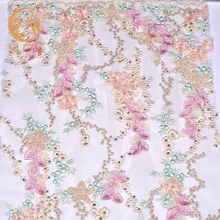 OME Most popular embroidery textile raw materials spinning net lace dress fabric