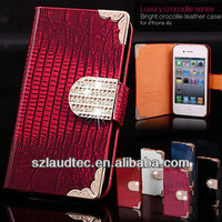 WALLET DIAMOND BLING LEATHER CRYSTAL FLIP MAGNETIC CASE COVER FOR IPHONE 4 4G 4S