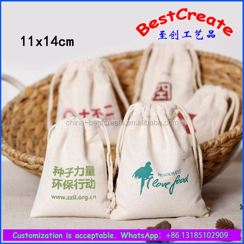 Recycled cute cartoon pattern canvas drawstring bauble bags for kids
