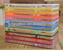 Color Clear TPU Silicone Bumper Frame Case with Buttons for iPhone 5 5G 5S