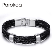 Parokoa brand jewelry black genuine PU leather bracelets with high quality buckle for men