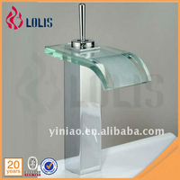 Led light deck mounted sink glass waterfall basin faucet