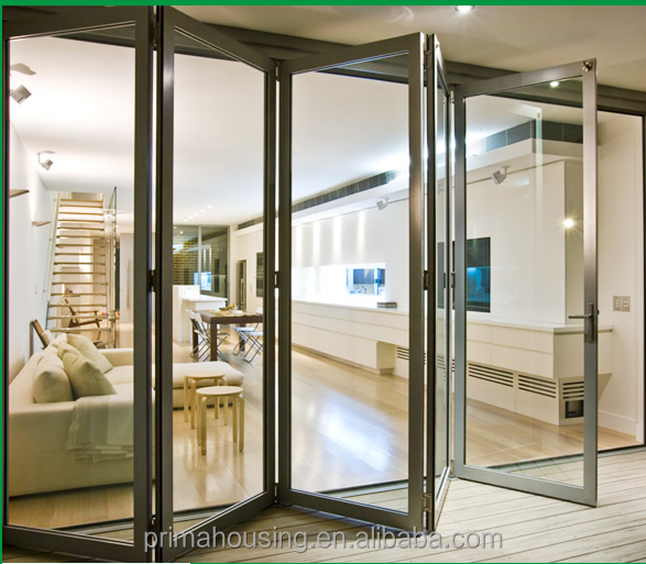 High quality aluminum glass folding door with laminated glass