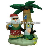 210cm high inflatable coconut tree with inflatable santa claus and penguin