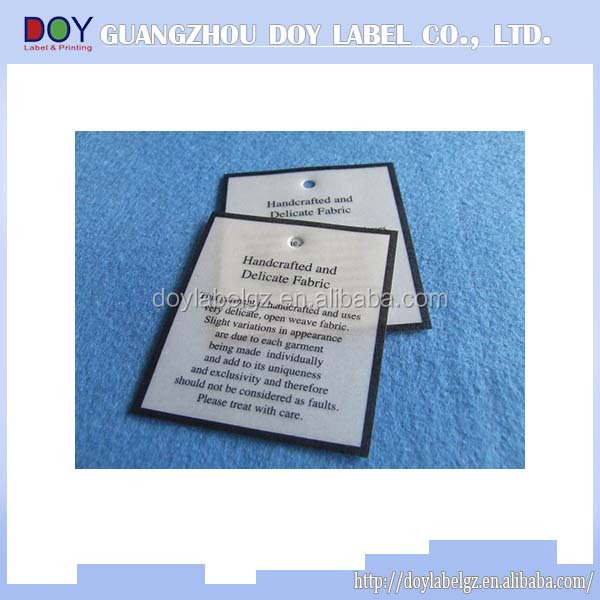 garment printed paper label with care instruction