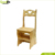 Multifunction wooden folding ladder step chair