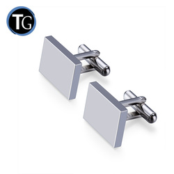 Wholesale High quality Custom Made Logo Engravable Titanium /316L Stainless Steel Cufflinks for men