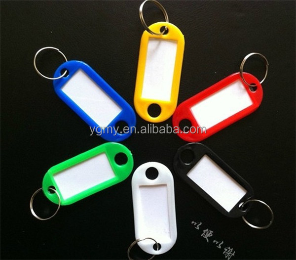 Plastic Key Ring ID Tags Name Card Label Luggage Tags Keychain