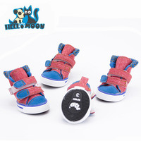 4Pcs/lot Summer Breathable Canvas Anti-Slip Casual Sport Dog Boots Shoe