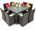 Factory! Simec outdoor rattan wicker round dining table set