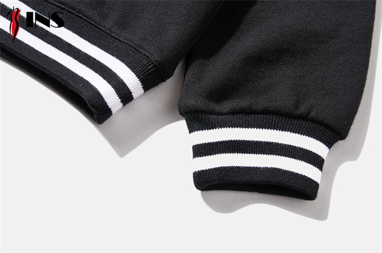 Striped boy sweater solid color children hooded sweater custom