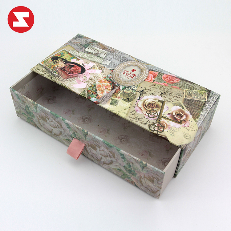 300 gsm personalized paper drawer box for flowers