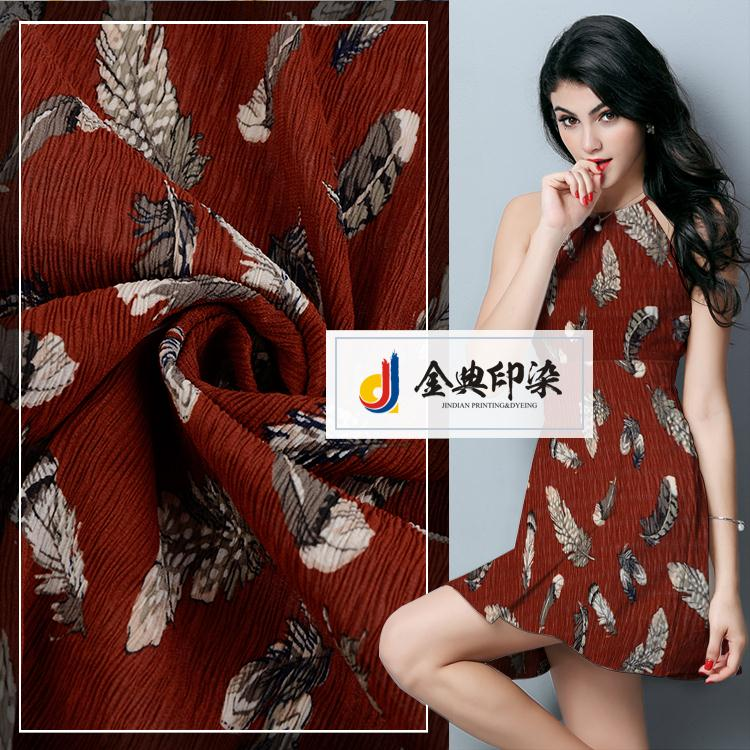 Competitive price cheap fashionable dress crinkle pure georgette chiffon fabric printed