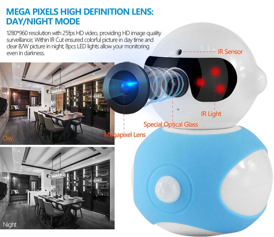 Portable Wi fi 360 Robot Newest Mini Camera