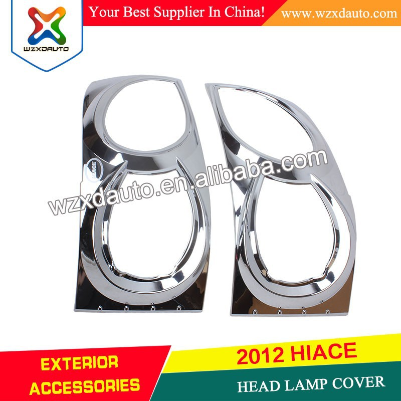 NEW STYLE TOYOTA HIACE 2012 HEAD LIGHT COVER ABS CHROME 05 06 07 08 09 10 11 12 HIACE HEAD LAMP COVER CAR ACCESSORIES