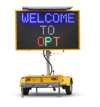 Optraffic Hydraulic Lifting Onsite and Remote Highway Traffic Control Solar VMS Message signs, Trailer Mount Message Boards
