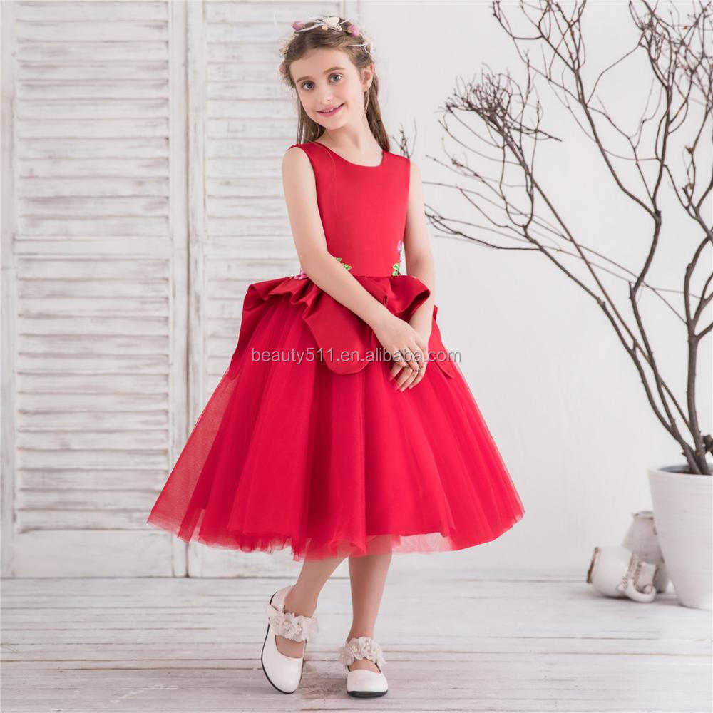 Red Princess Girl Dresses for Wedding and Party ball gown tulle net girl Kids dress Costume Floral Robe Mariage for Girls