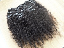 alibaba <strong>express</strong> virgin Brazilian hair afro kinky curly clip in hair extension human