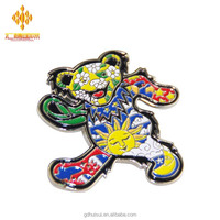 Wholesale new fashion high quality cheap metal funny crafts bear logo enamel colors custom pins lapel