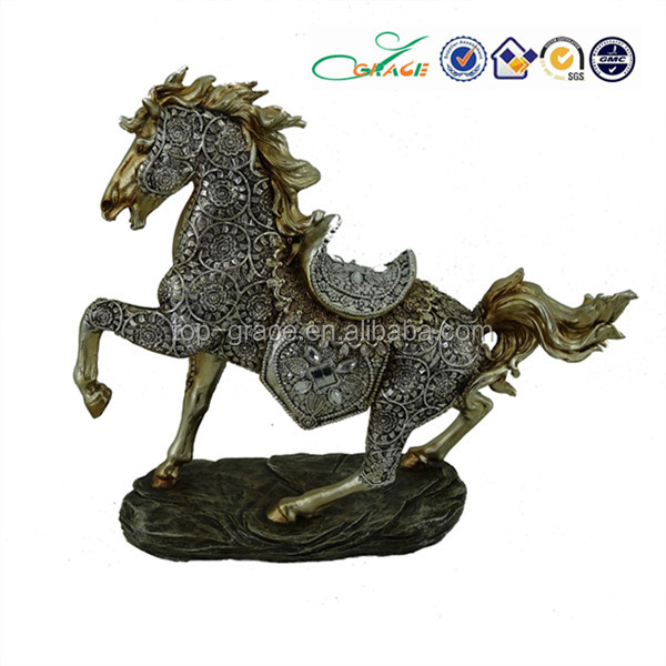 resin brass rocking horse