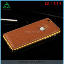 Cell Phone Accessories For iPhone 6 Metal Bumper Leather Skin Cover Case, 2 in 1 Case For iPhone 6