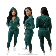 KS30869A Fashion Zip up Hoodie&Sweatpants suit Women Velour Jogging Suits