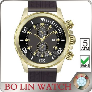 watch mens/solid 316L stainless steel/japan movement six hands/steeled glass/5 atm/luxury, six hands watch men