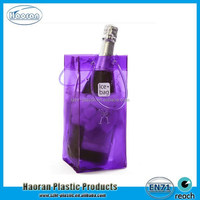 Beauty color clear PVC plastic ice bag for wine with handle