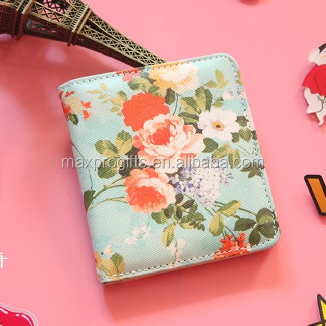 Korea japanese style child-free partysu school style mini slim wallet, cartoon floral printed pu purse