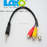 3.5mm stereo male right angle to 3 rca 3.5mm female japan av xxx hd video audio game cable