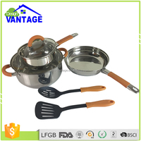 High quality pink stainless steel royal cook queen cookwares cooking pots and pans for kitchenware