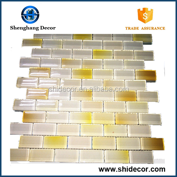 Home backsplash gold shape glass mosaic tile