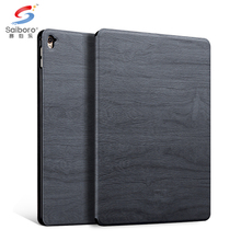 Factory price pc + leather wooden grain for ipad air 2 protective cases black