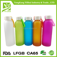 High temperature resistance colored glass water bottle with Neoprene sleeve for promotion