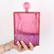 new <strong>fashion</strong> and hot selling acrylic evening clutch bag,acrylic box clutch bag perfume bottle shape bag