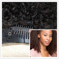 2017 branded designed wholesale : easy clips afro puff kinky twist extension/braiding for African American