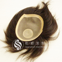 100% Indian Virgin Hair men's toupee natural straight hair wigs , hairpiece for men