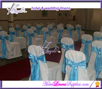 white basic polyester wedding chair covers with satin sashes for banquet chairs