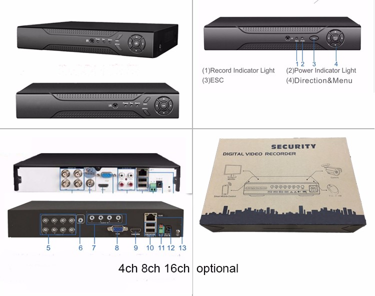 HD 4ch 8ch 16ch 1080P Real Time 4CH Playback H 264 hd AHD CCTV DVR for IP AHD Analogue cameras