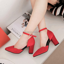 2017 spring new pointed high heels women thick with shallow mouth shoes Korean red wedding shoes sexy M0048