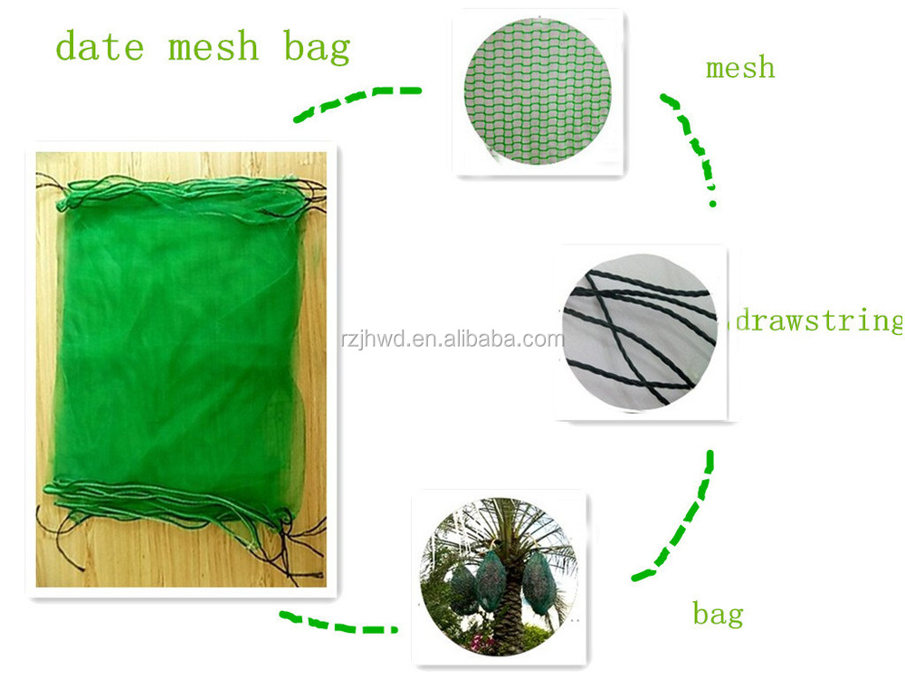 Date Palm Tube Net Bag With Black Drawstrings