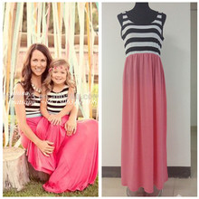 Factory Summer Family Clothing Girl Dress Sleeveless Stripe Cotton Fashion Mother And Daughter Clothes Party Dress