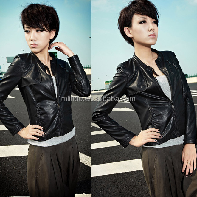 washable and soft short pu leather ladies jackets designer manufacturer, ladies short jacket