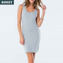 Wholesale 2016 fashion casual stylish cheap plain sleeveless grey dress summer clothes for women