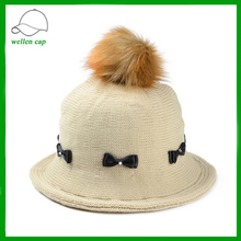 high quality faux animal fur pom poms silk fabric bowknot knitted bucket hat for wholesale