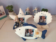 High quality 2017mediterranean style mdf wooden photo frame with fish and starfish shell